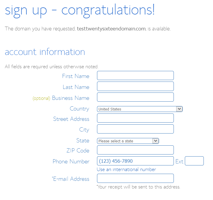 Bluehost Account Sign Up Details