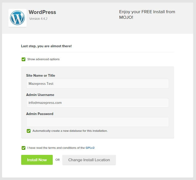 Wordpress Install Details