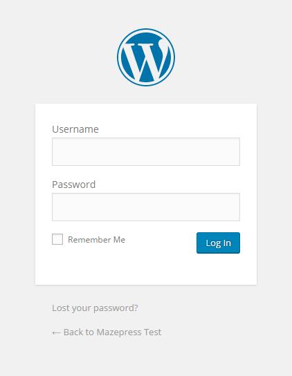 Login to WordPress Screen