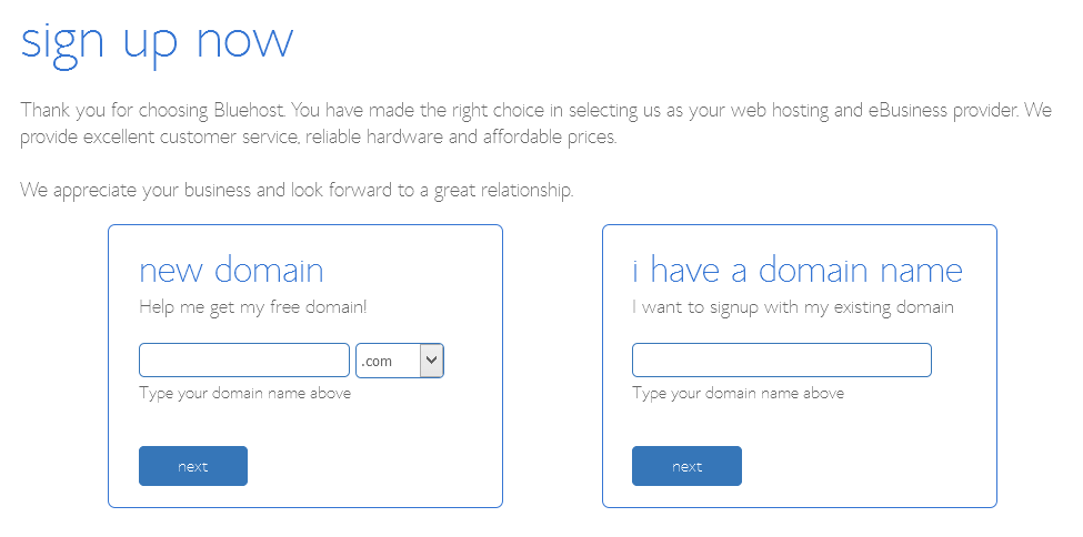Bluehost - Choose your free domain or transfer existing domain name