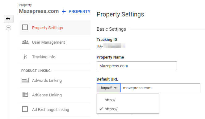Update Google Analytics to https