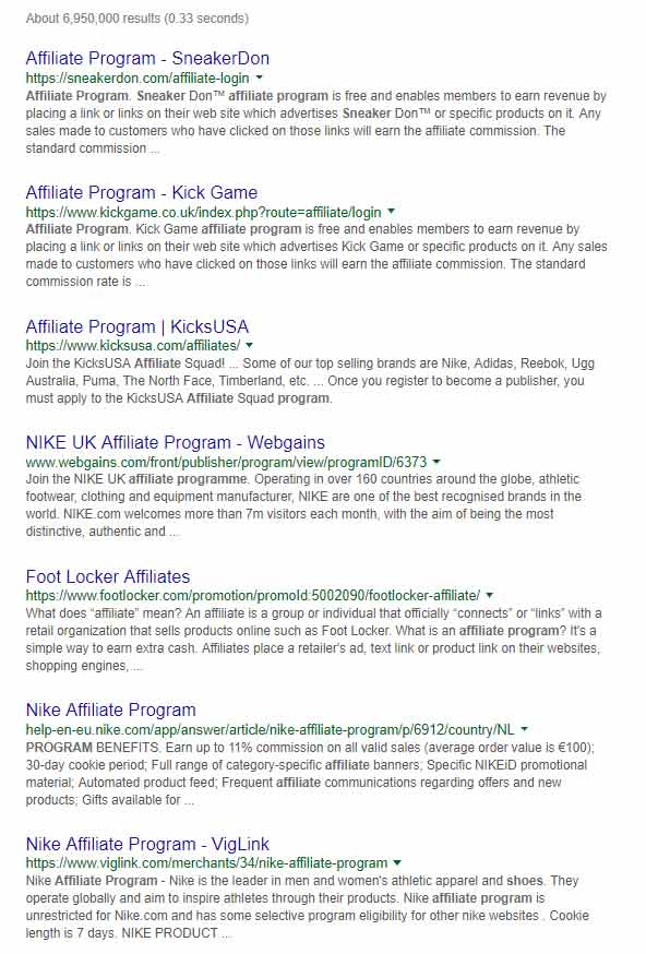 Example Search for Affiliate Programs