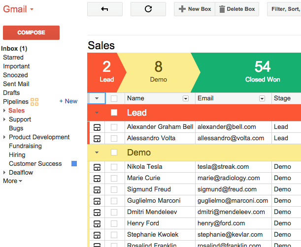 Streak Customer Relationship Management Tool for Gmail