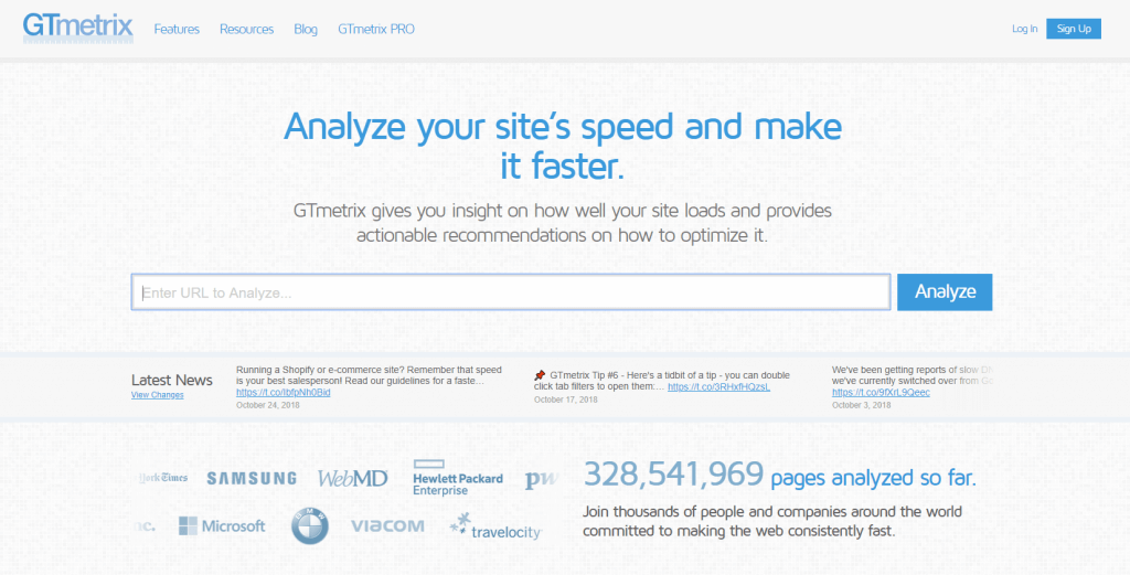 GTMetrix Website Speed Testing