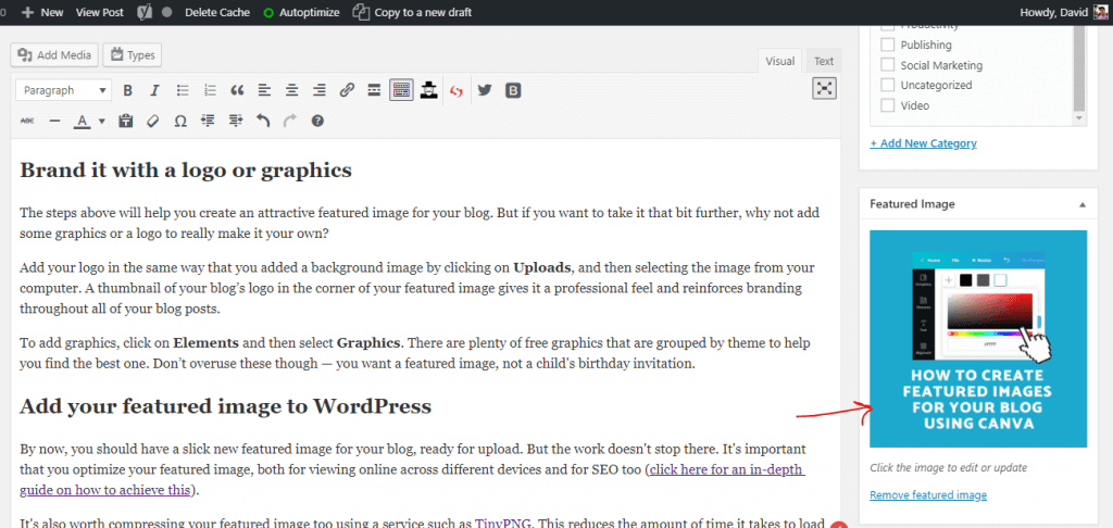 How to add a featured image thumbnail to WordPress