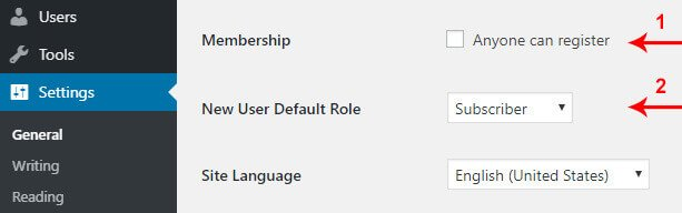 Default WordPress User Permissions