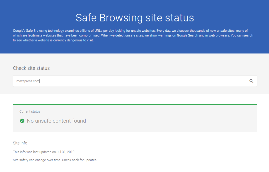 Google Safe Browsing Site Status Checker
