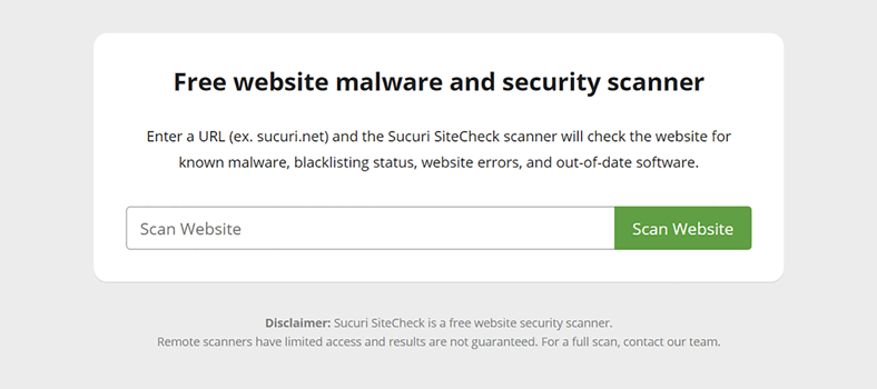 Sucuri Malware Scanner Tool WordPress site
