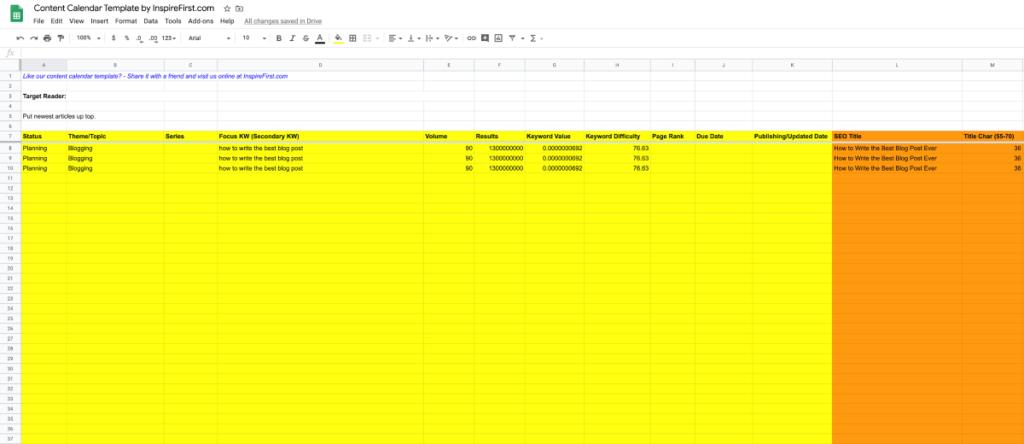 Google Sheets Content Calendar